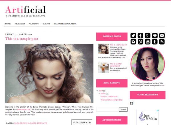 Artificial Blogger Template by Envye