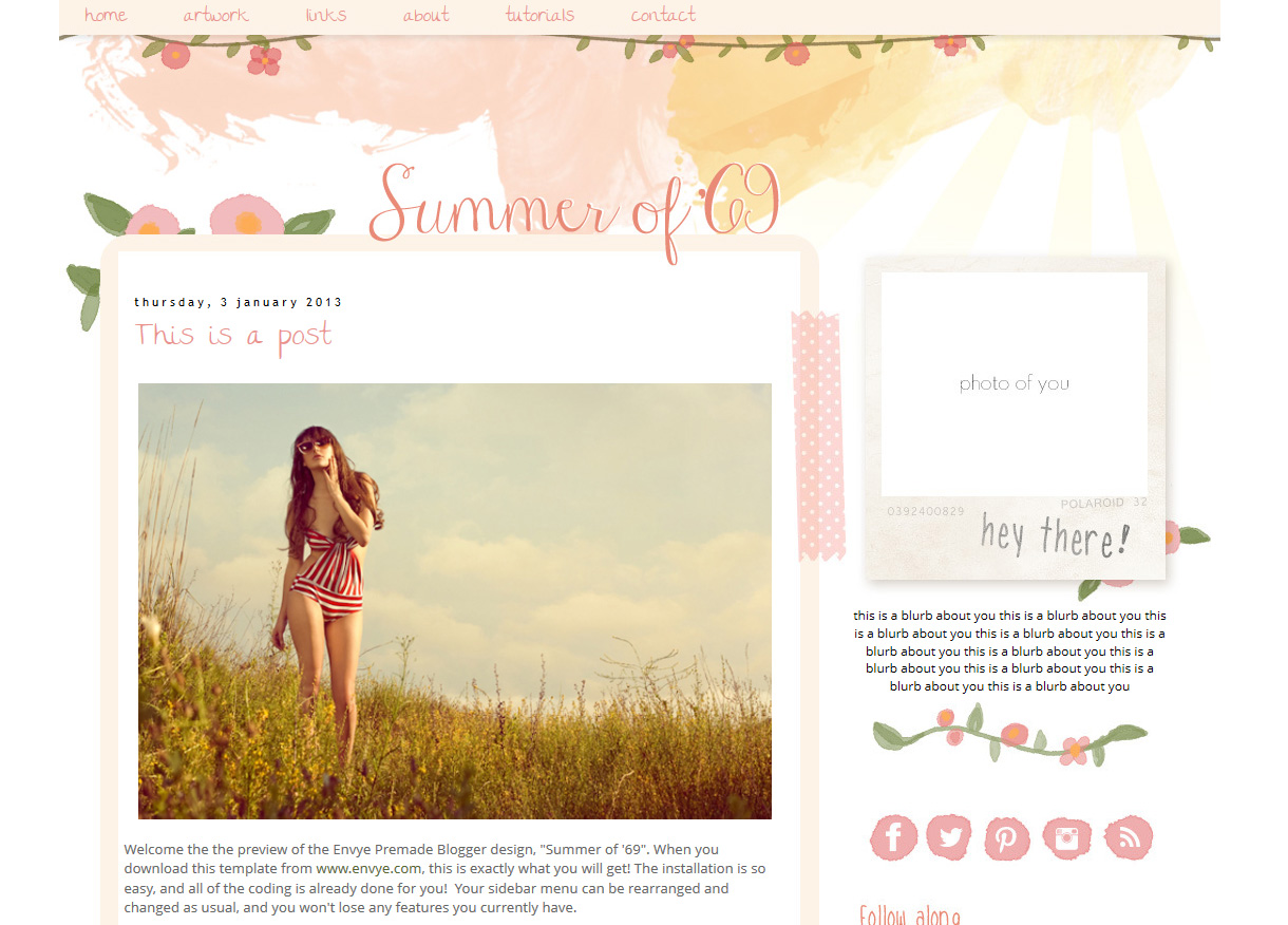 Summer of \'69 Responsive Blogger Template – Envye